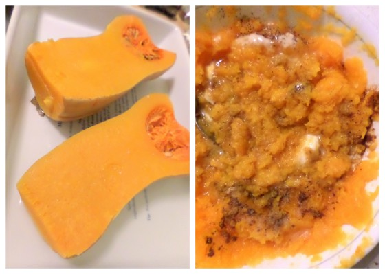 Baked and mashed butternut squash